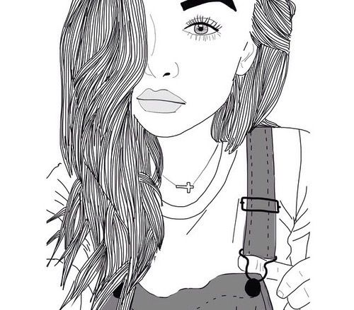 Line Art We Heart It : Eyes girl hair lips outline outlines tumblr