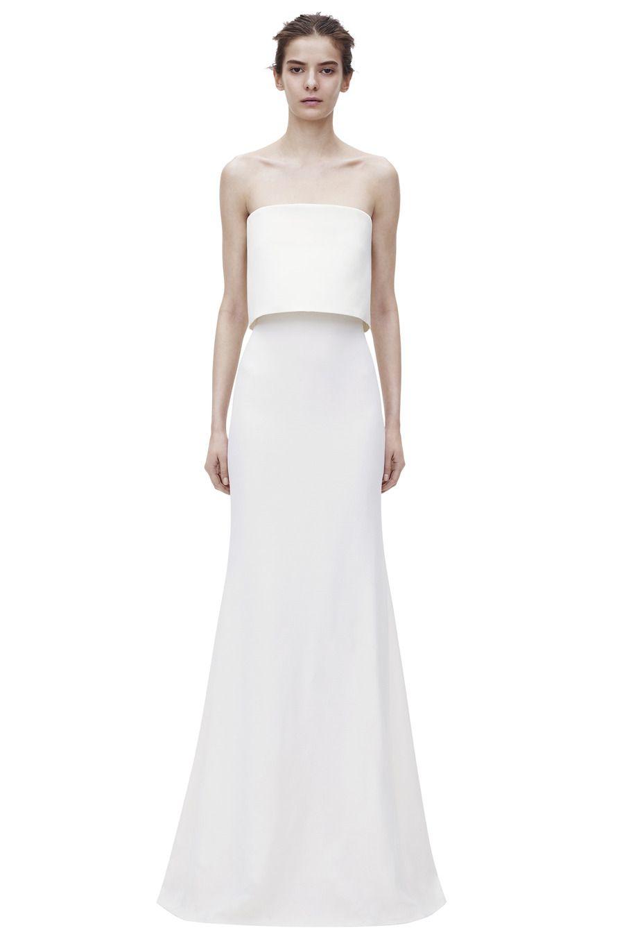 Cropped Top Floorlength Gown| VICTORIA BECKHAM #Bridal #Wedding ...