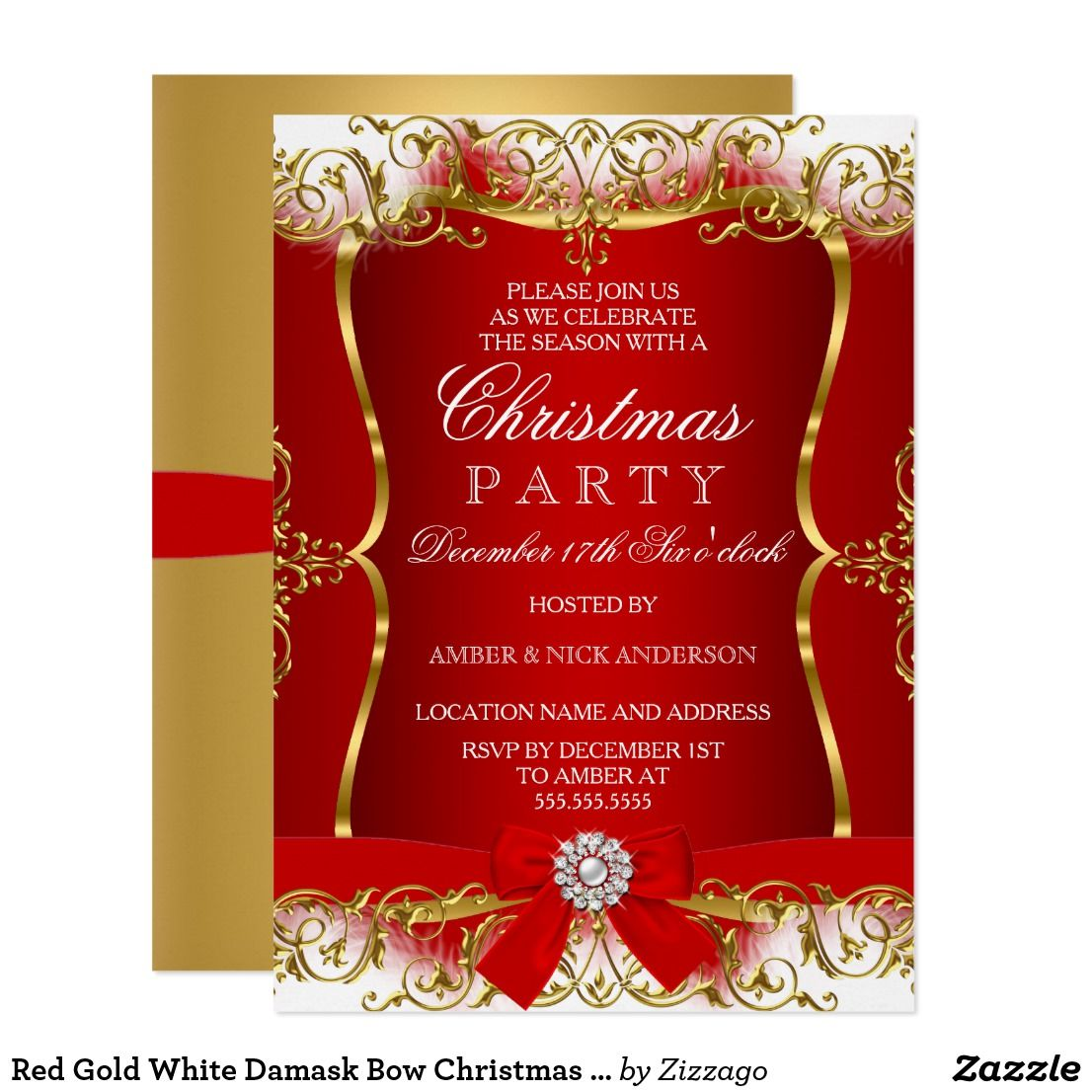 Red Gold White Damask Bow Christmas Party Invite | Christmas ...