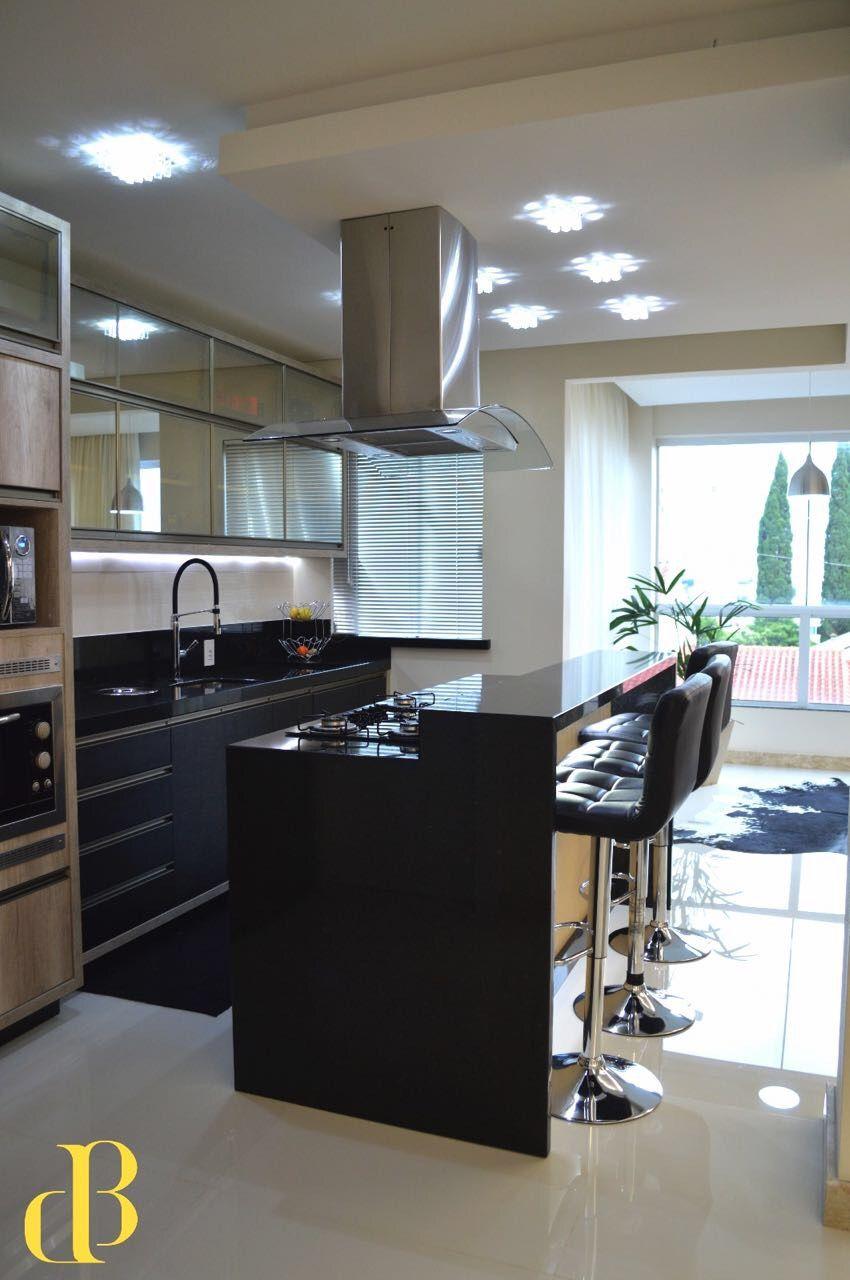 Cozinha Integrada Ilha Central Bancada De Apoio Desenvolvido