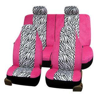 FH Group Zebra Print Soft Velour Seat Covers Full Set
