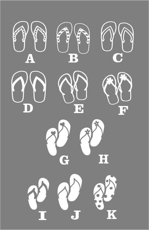 Family stickers flip flops vinyl sticker car decal by blakdogs
