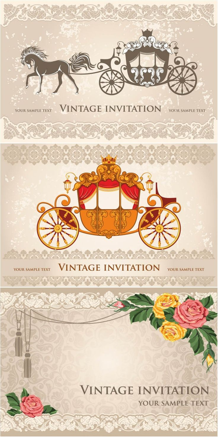 Amazing vintage wedding invitation vector | Cosas para comprar ...