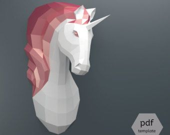 Unicorn Papercraft, 3D Papercraft - Build Your Own Low Poly