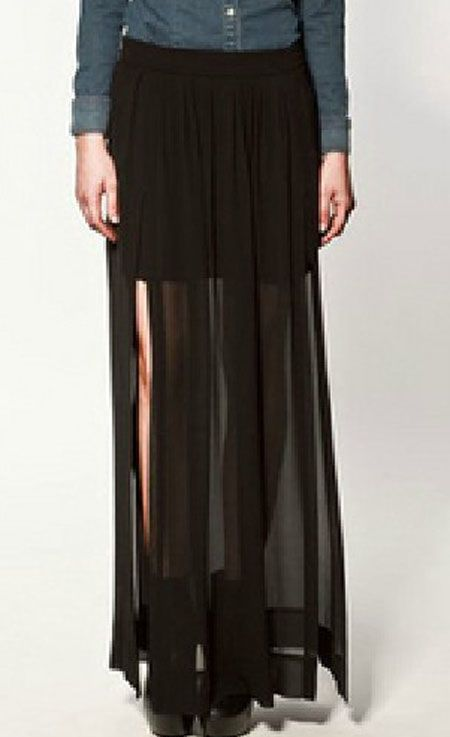 f715f285c155a Black Pleated Chiffon Split Side Long Sheer Skirt - Sheinside.com  SheInside