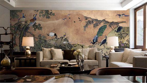 73 X 26 Oriental Peacock Phoenix Wallpaper Asian Vintage Retro