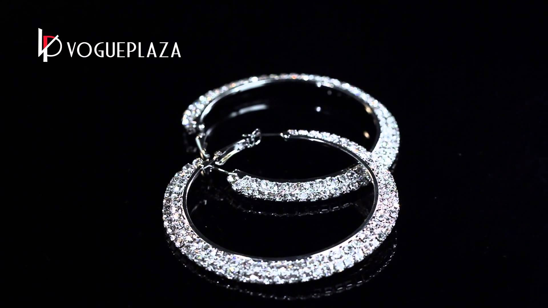 White Gold Plated Round Hoop Earrings Clear Crystal From Vogueplaza.com