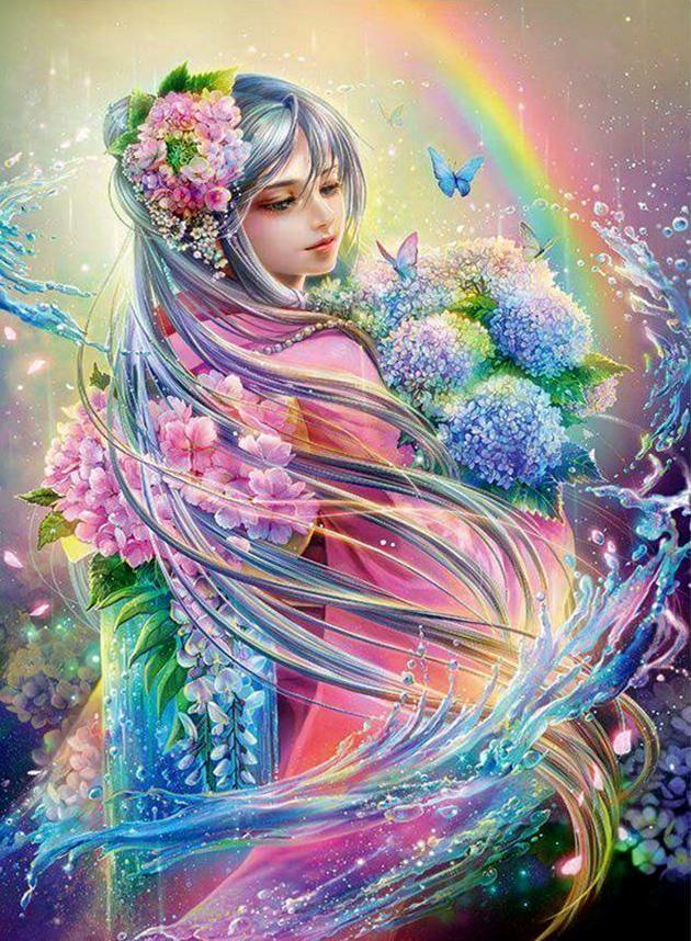 Rainbow Girl Diamond Painting Diamond painting, Fairy