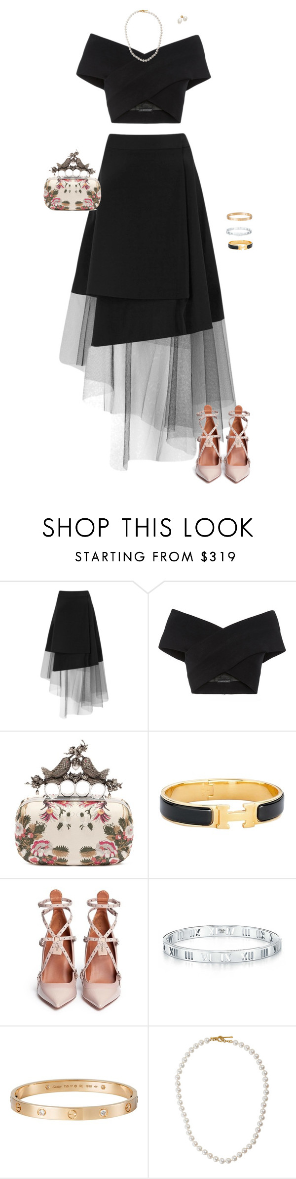 """""""Semi-Formal"""" by americanhorse ❤ liked on Polyvore featuring DKNY, Kalmanovich, Alexander McQueen, Hermès, Valentino, Cartier and Cathy Waterman"""