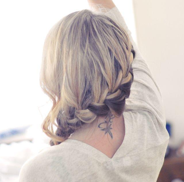 Phenomenal Pretty Side French Braid Low Updo Hair Tutorial Cabello Short Hairstyles Gunalazisus