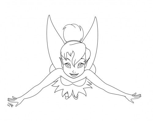 Tinker Bell Flying With The Wings Use Coloring Page