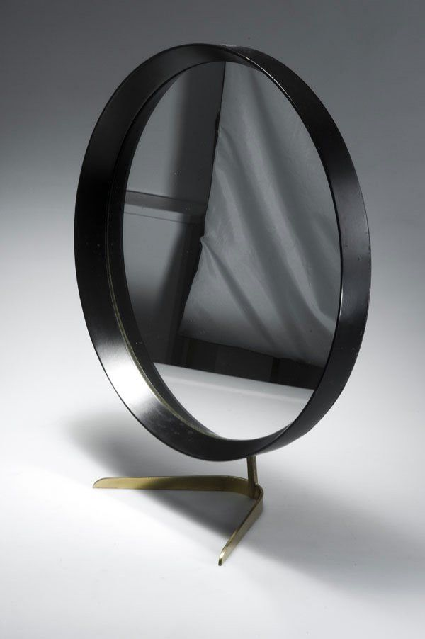 J. T. Kalmár, Brass, Glass and Painted Wood Table Mirror, c1955.  MIRRORED ...
