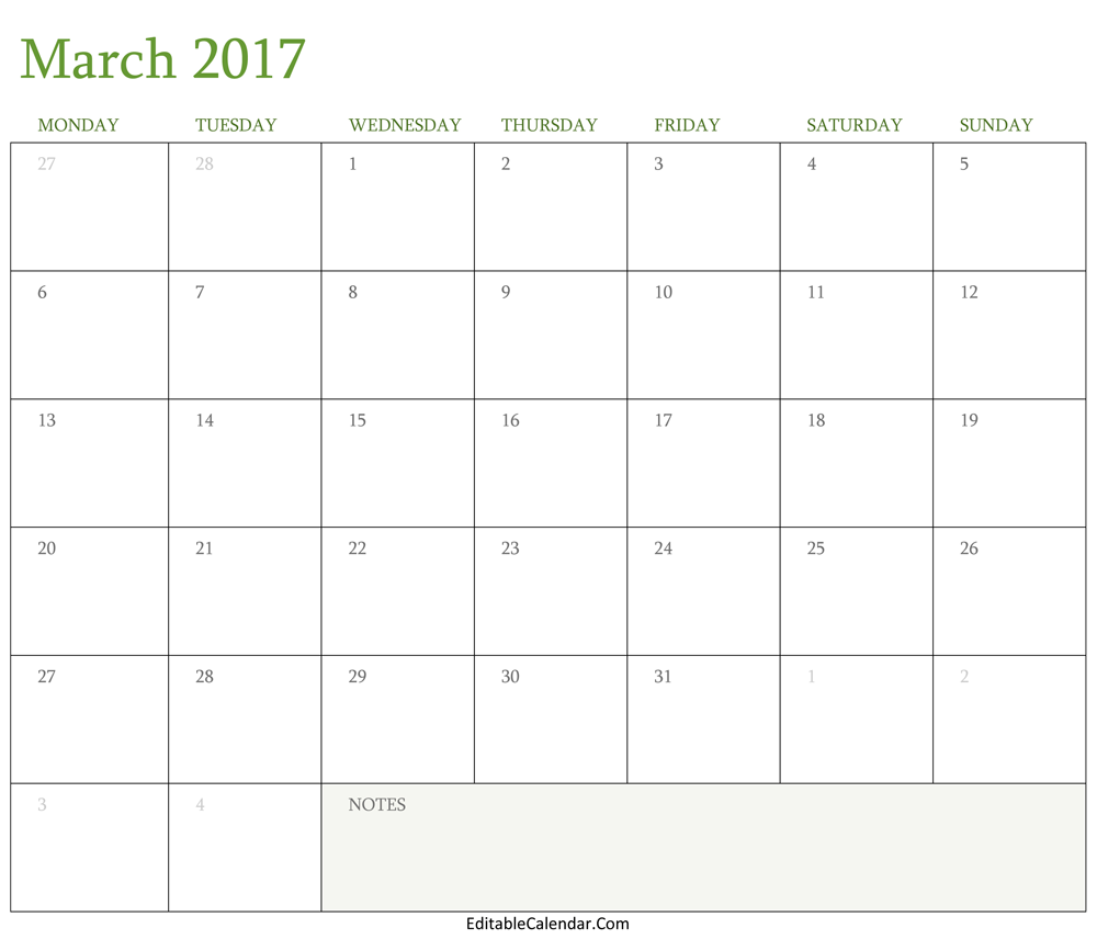 Blank March 2017 Calendar Template Word Pdf Calendar Pinterest