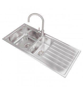 99.97 Valle Ottawa 1080x500mm Right Hand 1.5 Bowl Kitchen Sink ...