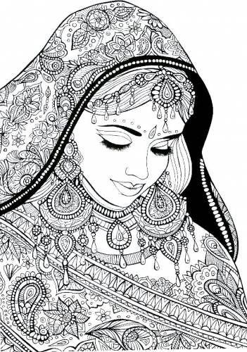 антистресс индийская девушка картинки для раскрашивания