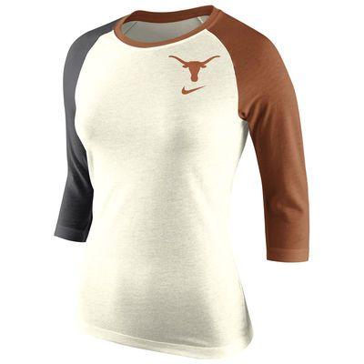 Texas Longhorns Nike Women's Strong Side Tri-Blend Raglan T-Shirt - Natural