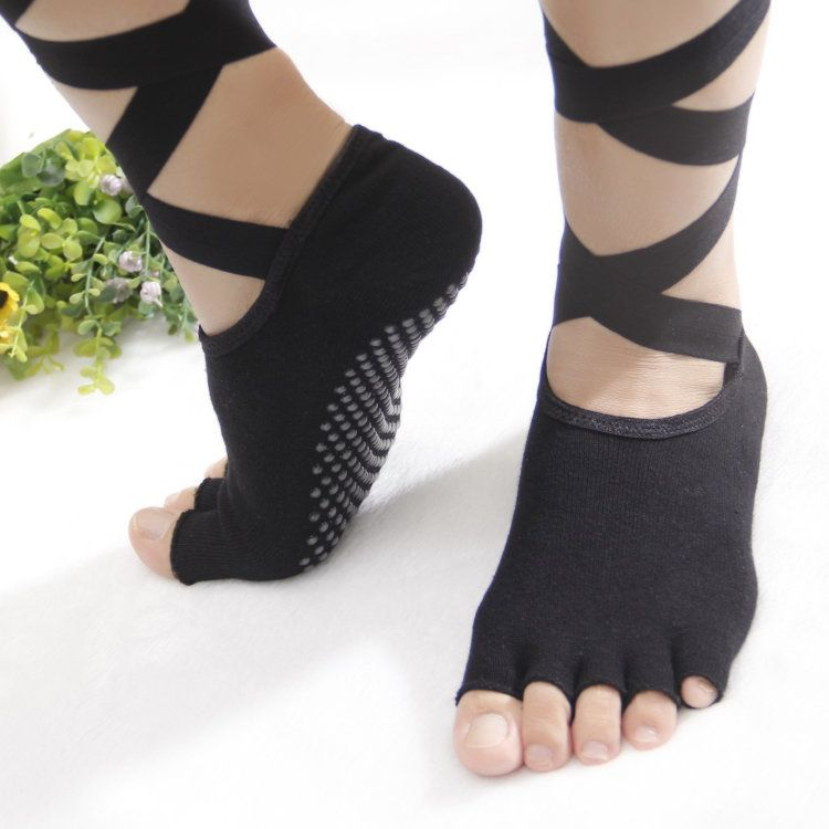 Women Ladies Toes Yoga Socks Ballet Sports Lace Non-Slip Exposed ...