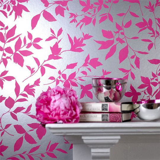 Fun And Fearless Fuchsia For Interiors Pink And Silver Wallpaper Pink Floral Wallpaper Modern Floral Wallpaper