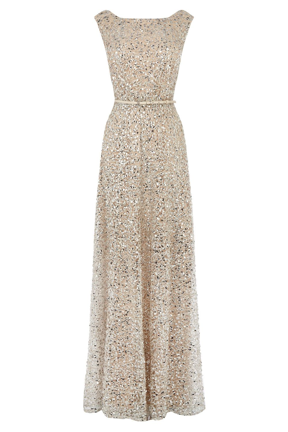 Nude neutral long gown belted shimmer dresses greys desire sequin