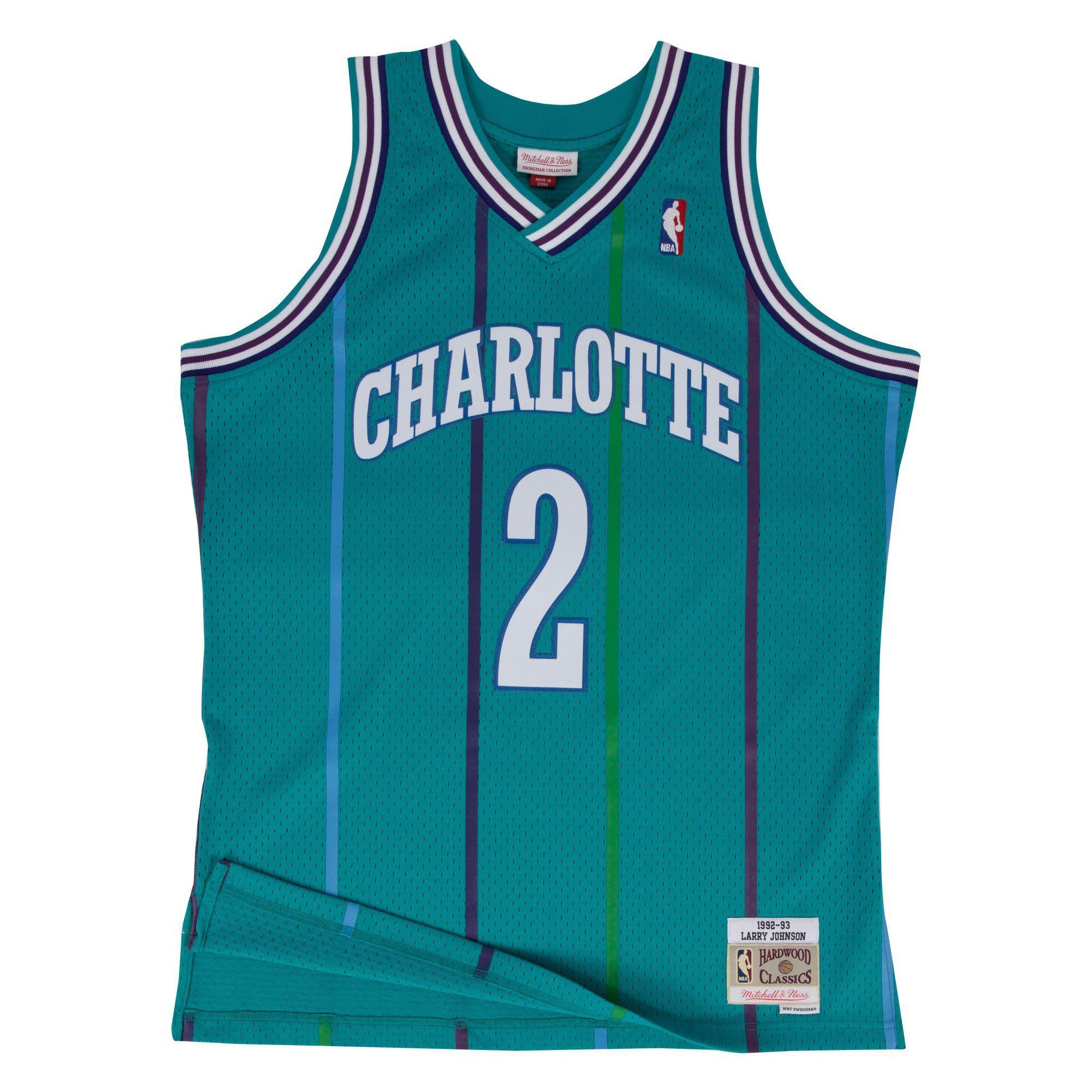 4fa82d9eb1e Men s Larry Johnson Charlotte Hornets Mitchell   Ness Teal Throwback Swingman  Jersey