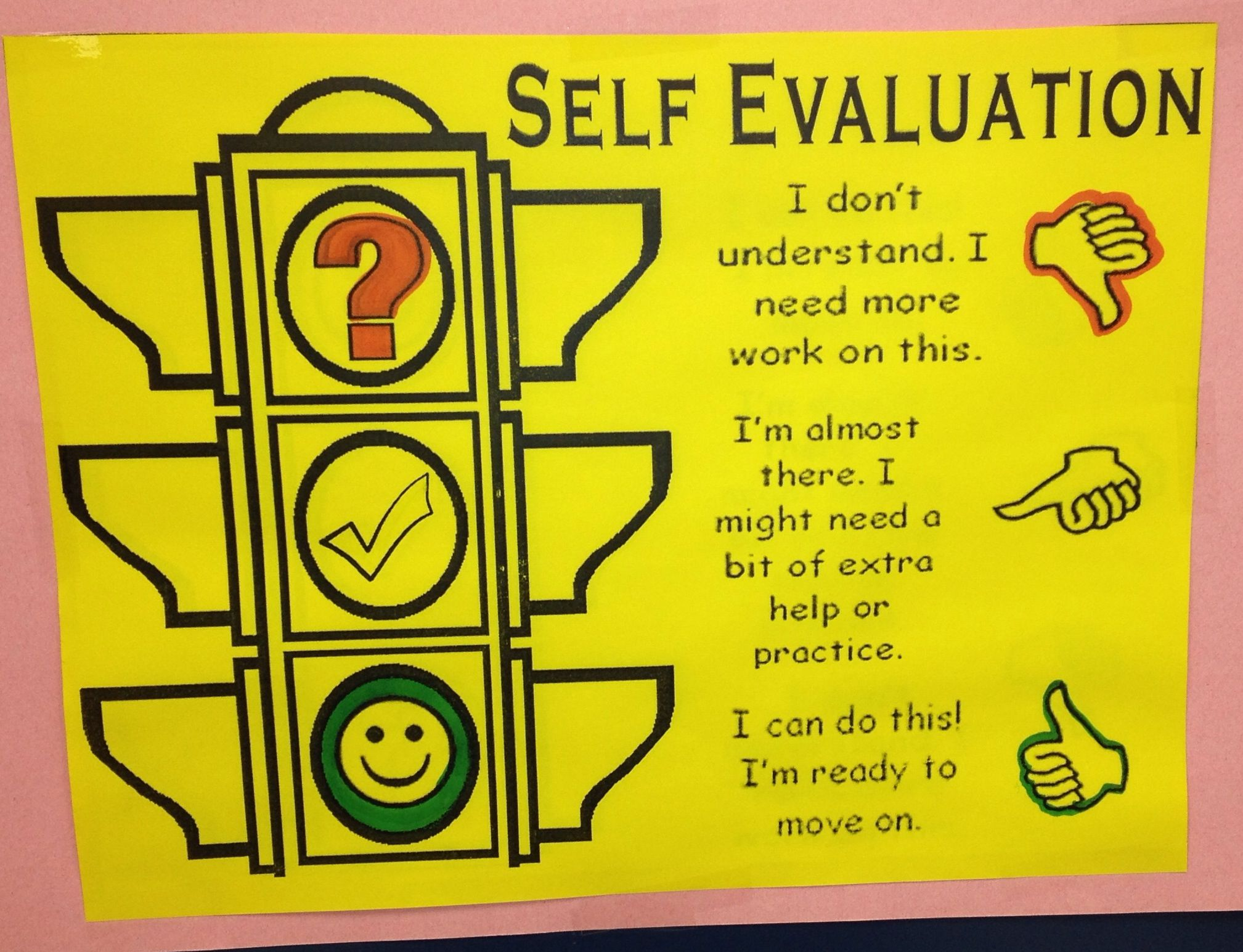 Student Self Evaluation Chart (self assessment, monitoring