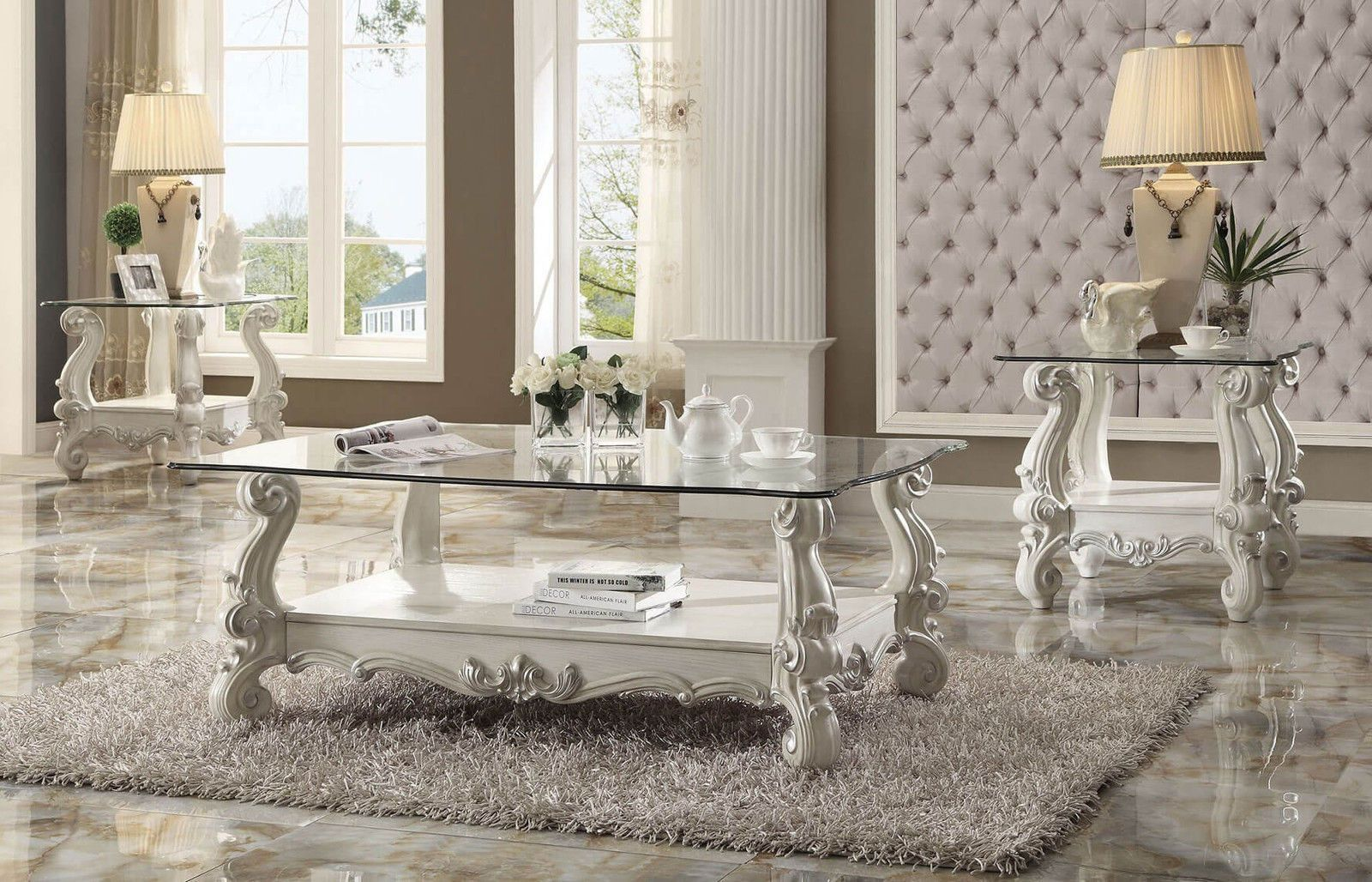 3 piece acme versailles glass top coffee table set bone white finish
