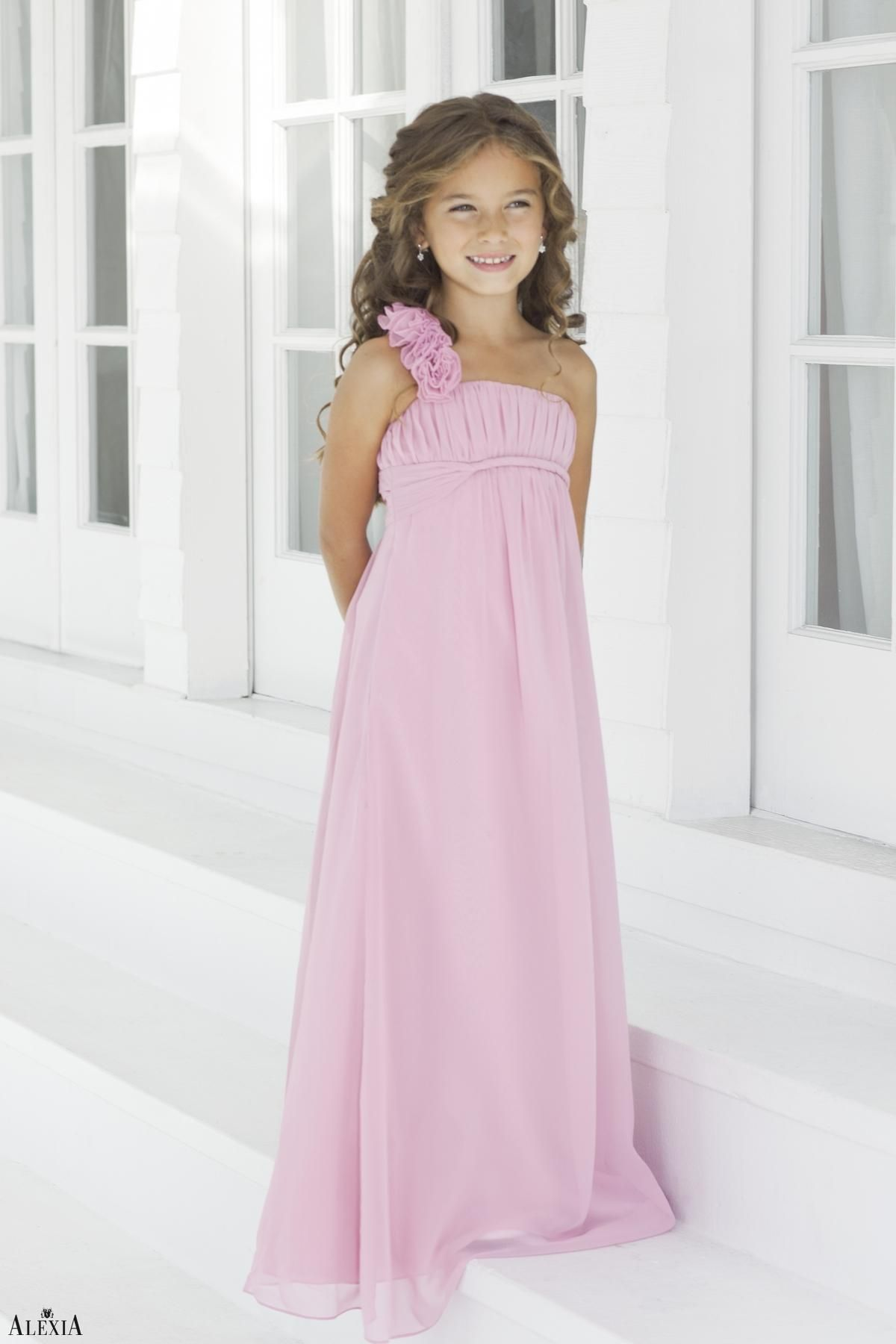 Charmeuse Pleated,Straps Style 44 Junior Bridesmaid Dress by Alexia ...