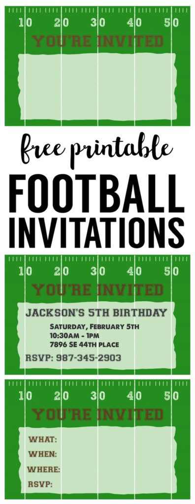 Free Printable Football Invitations Party Invites For A Birthday Super Bowl Themed Baby Shower Or Team