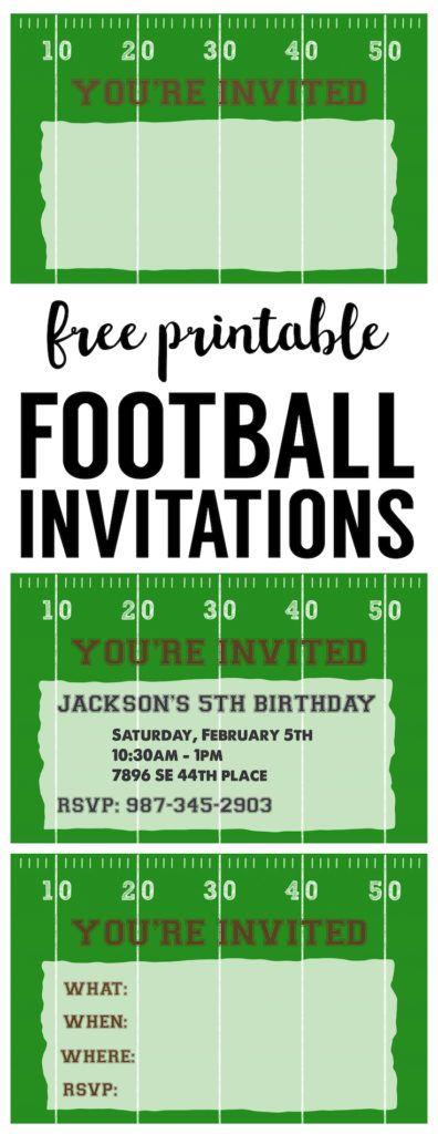 Football Ticket Birthday Invitation- Printable   Boys birthday ...