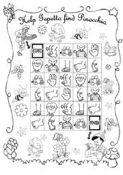 English Worksheets: Help Gepetto find Pinocchio (Follow