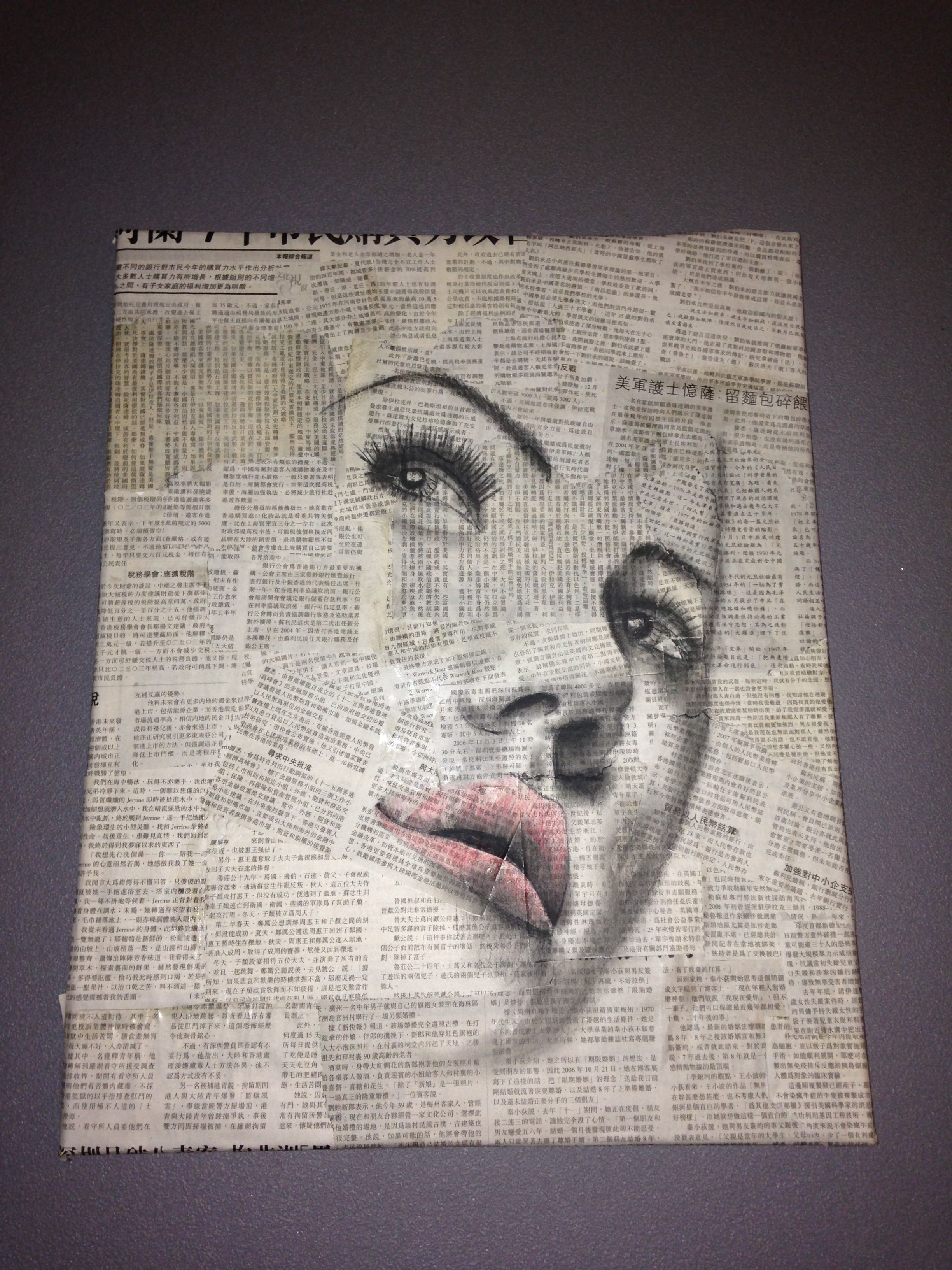 Drawing Of Womans Face On Newspaper Collage Art Mixed