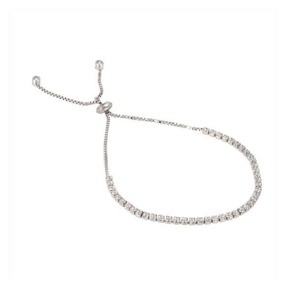 Sterling Silver Thin Tennis Bracelet Elegant & Simple. Sterling Silver Adjustable Thin Tennis Bracelet V & V Jewels Jewelry Bracelets