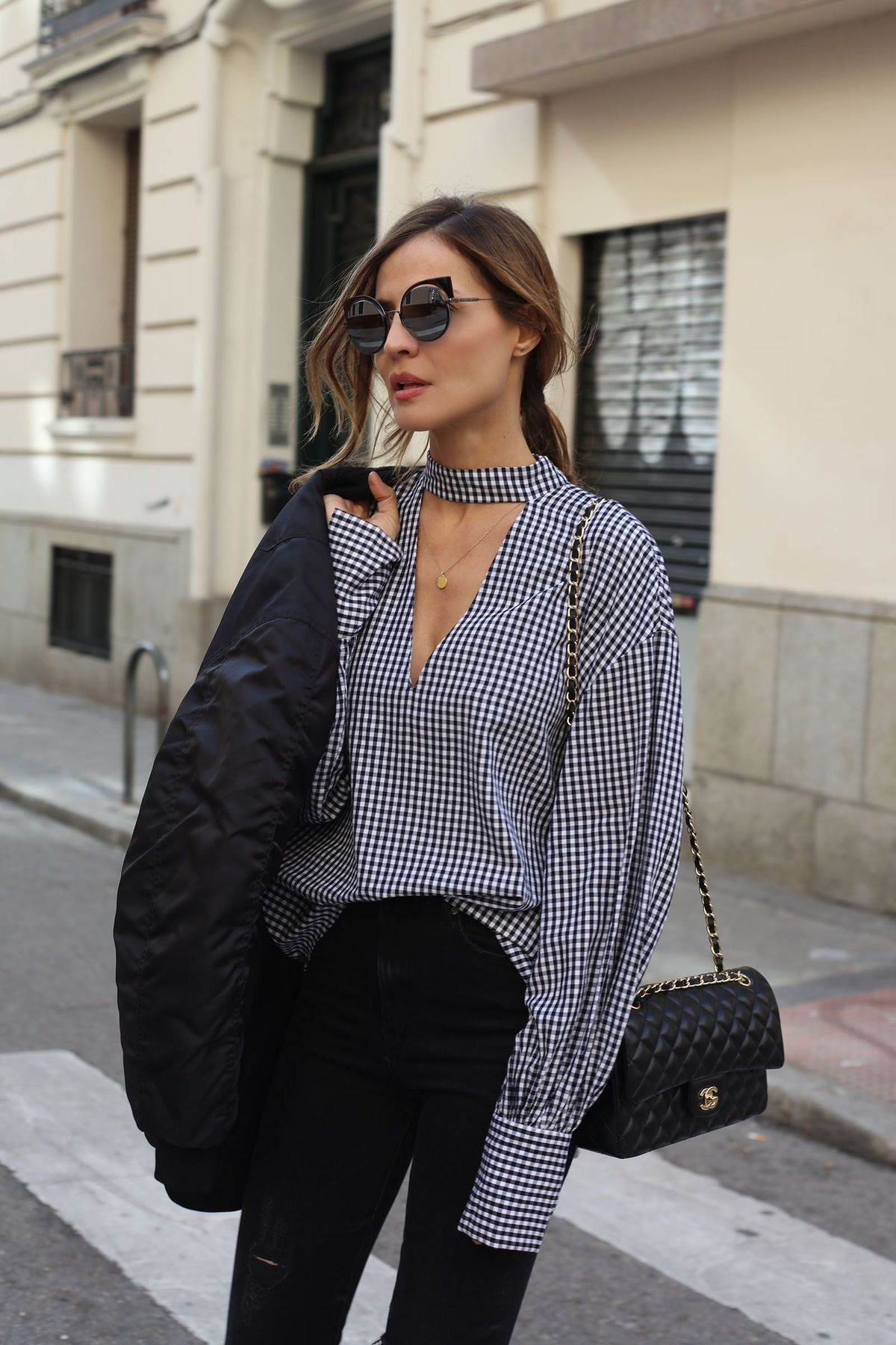 Chic blue and white gingham blouse with all black.  27caa70c00032