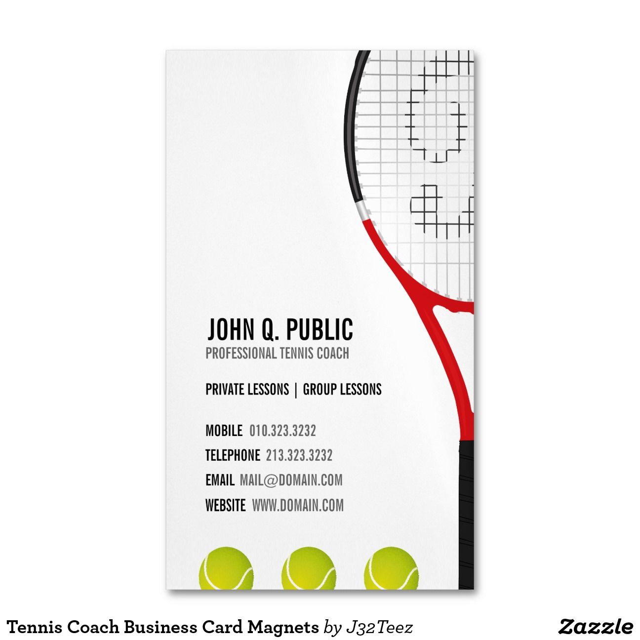 Tennis Coach Business Card Magnets | Magnetic business cards ...