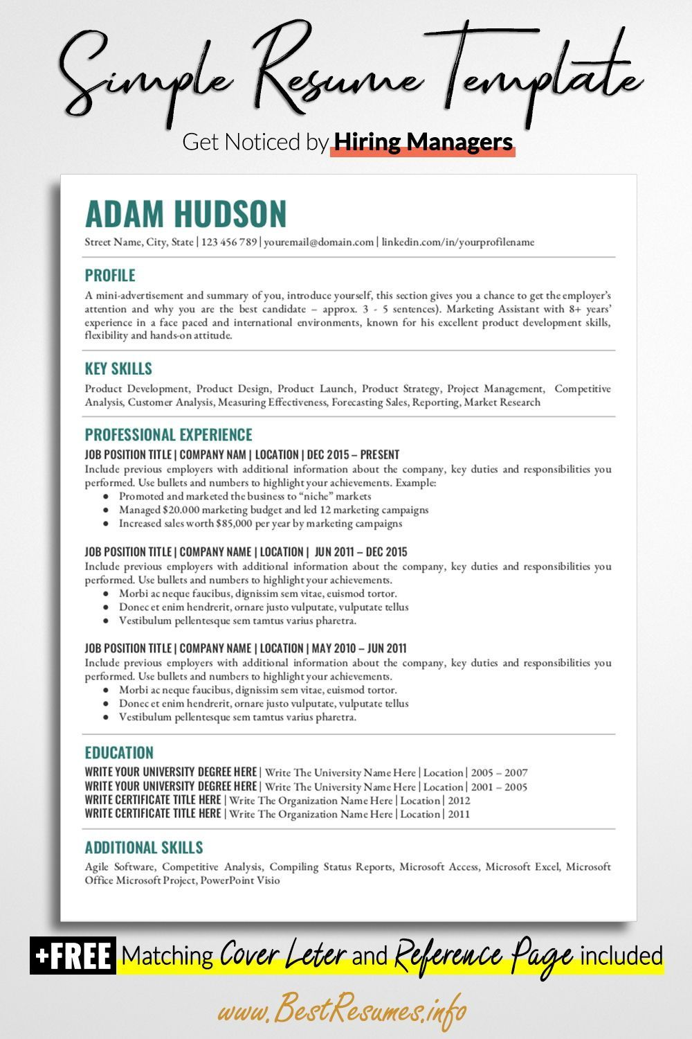 Simple Resume Template layout helps you to stand out with