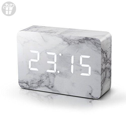 Brick Marble Click Clock - White LED by Gingko Electronics (*Amazon Partner-Link)