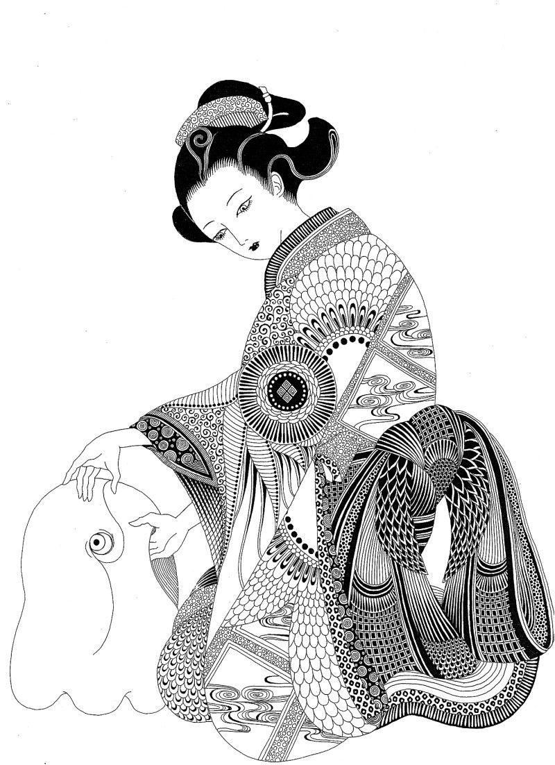 宇宙シリーズ Pechu の画像 黒い金魚と白い象 魚アート アートのアイデア イラスト