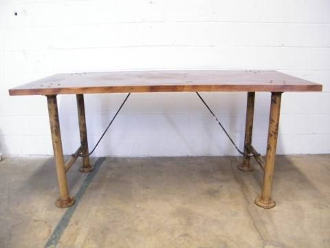 Columbus Architectural Salvage   Industrial Work Table 72 X 30 X 33
