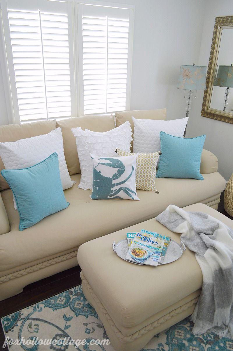 Coastal Cottage Summer Living Room | Coastal cottage, Coastal and Aqua