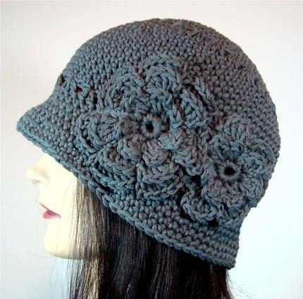 Cloche Hat in Slate Gray with 2 Crocheted Flowers by MelsBellsHats ... ce31fd4002a