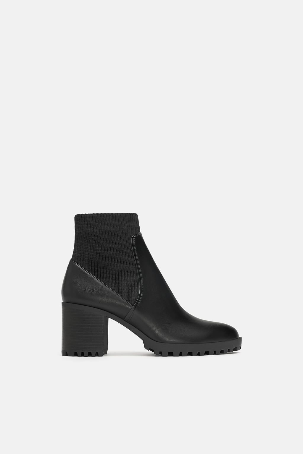 535ef21783a Image 2 of SOCK STYLE HEELED ANKLE BOOTS WITH LUG SOLES from Zara