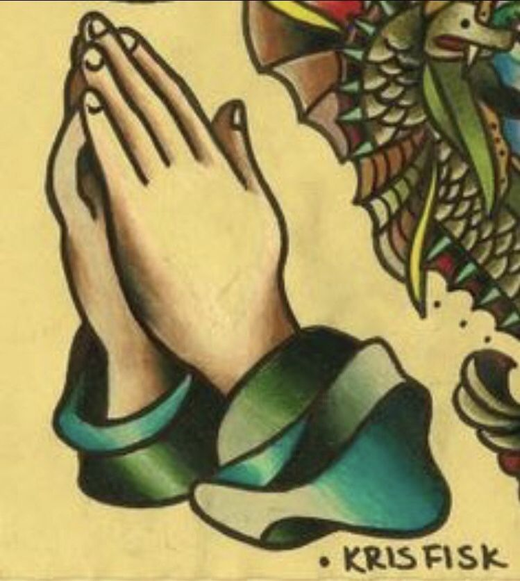 Traditional Praying Hands Tattoo Black And Gray: American Traditional Tattoo, Traditional