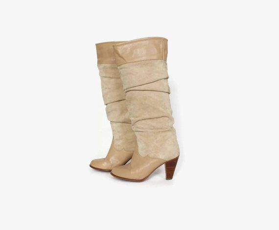 8773af8555175 Vintage 80s Tall Leather BOOTS / 1980s Ivory Tan Leather Slouch ...