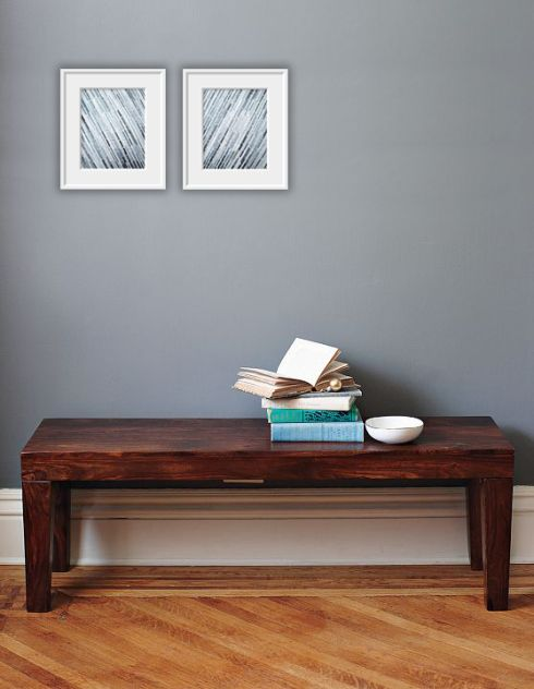 color idea blue gray walls dark wood table whitesilver picture frames