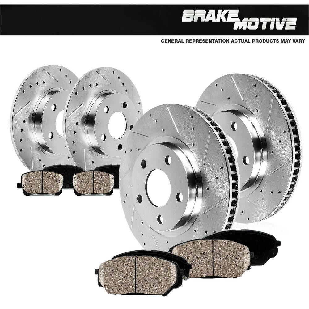For 2002-2005 Dodge Ram 1500 Front Black Slotted Brake Rotors+Ceramic Brake Pads