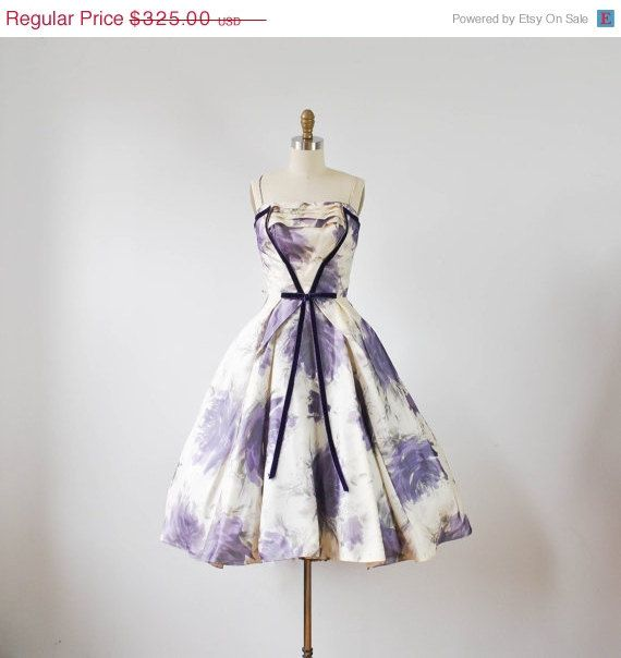 ON SALE / vintage 1950s white and purple by RockAndRollVintage