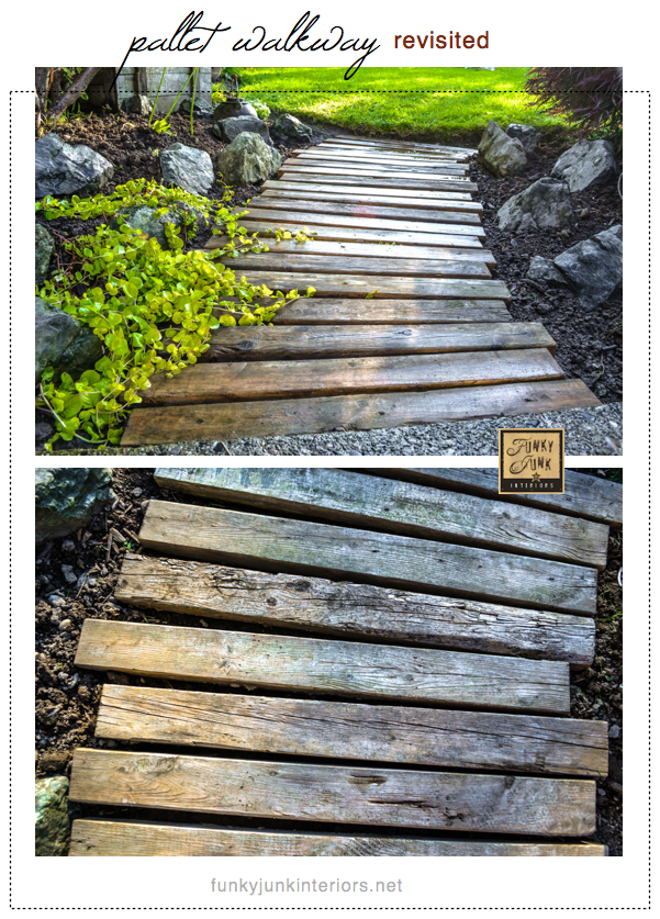 A PALLET WOOD WALKWAY or PATH in the garden gets a fresh undertaking.. and made it unscathed. It's back! See how via Funky Junk Interiors