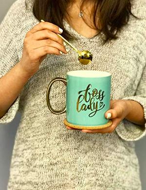 Boss Lady Coffee Mug Includes Gold Luxury Spoon Cork Coaster And Beautiful Box Mint And Gold Larger Coffee Cup Motivati Mugs Motivational Gifts Coffee Mugs