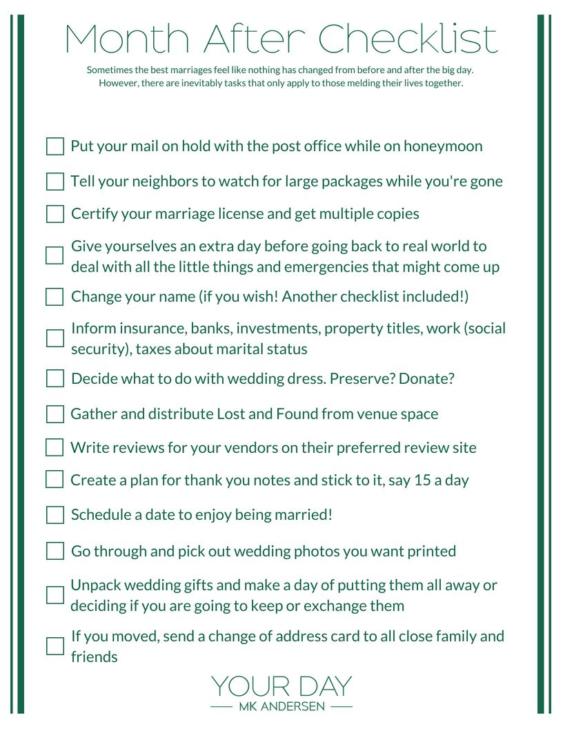 Month After Wedding Checklist Your Day By Mk Andersen Chicago Planner