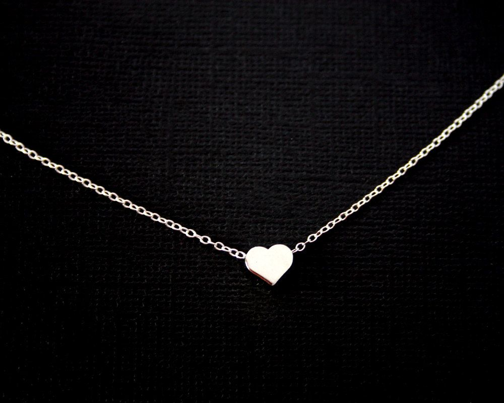Initial Necklace Single White Gold Plated Heart - simple necklace, small short necklace, romantic birthday gifts, mothers day gift. $23.00, via Etsy.